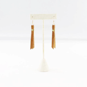 leather rivet earrings cognac