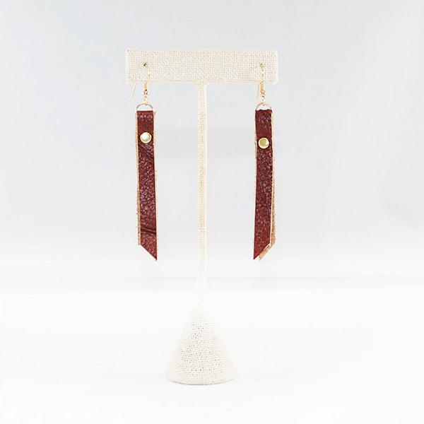 leather rivet earrings whiskey