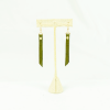leather rivet earrings olive